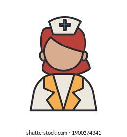 profession nurse worker avatar fill style icon vector illustration design