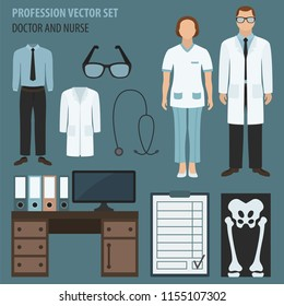 Profession and occupation set. Doctor`s workplace, medical staff uniform flat design icon.Vector illustration