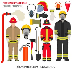 Profession and occupation set. Fireman equipment, firefighter service staff uniform flat design icon.Vector illustration