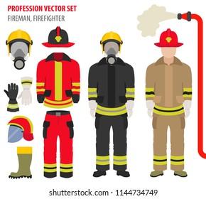 Profession and occupation set. Fireman equipment, firefighter service staff uniform flat design icon.Vector illustration