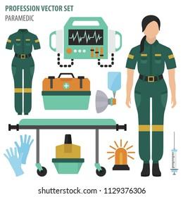 Profession and occupation set. Paramedic`s equipment, medical staff uniform flat design icon.Vector illustration