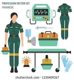 Profession and occupation set. Paramedic`s equipment, medical staff uniform flat design icon.Vector illustration
