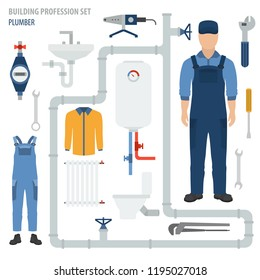 Profession and occupation set. Plumber tools and equipment. Uniform flat design icon. Vector illustration