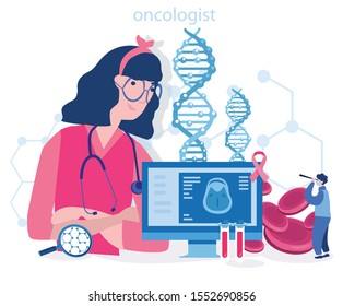 Profession oncologist, Oncology , cancer disease research persons . sickness therapy, Vector illustration for web banner, infographics, mobile. check for illness, disease or problems. Healthcare.
