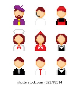 Profession pixels icons set. Old school computer graphic style.