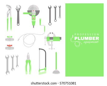 Profession - plumber. Repairing tools set. Flat decorative icons.