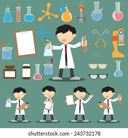 Profession scientist with icon elements of laboratory equipment test, cartoon analysis and research vector illustration