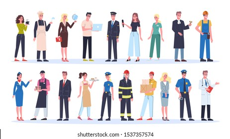 Profession set. Collection of occupation, male and female worker in the uniform. Doctor, engineer, fireman and teacher. Isolated vector illustration in cartoon style
