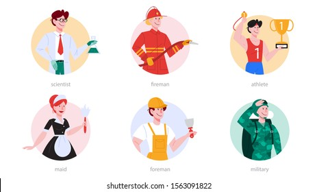 Profession set. Collection of occupation, male and female worker in the uniform. Scientist, fireman, athlete, maid, foreman, soldier. Isolated vector illustration in cartoon style