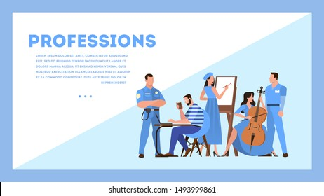 Profession web banner design concept. Collection of occupation, male and female worker in the uniform. Doctor, police officer and artist. Isolated vector illustration in cartoon style