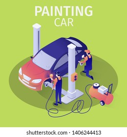 Professional Airbrush Painting Car with Spraying Gun in Automobile Service. Vector 3d Illustration of Auto Body Repair Process. Team of Masters in Uniform Working in Garage. Isometric Design