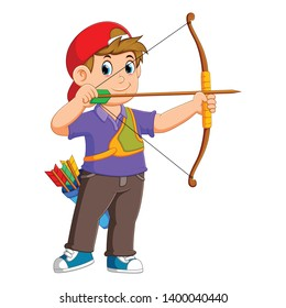 the professional archer is archering with the good posing