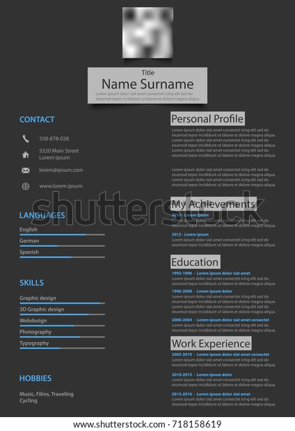 Professional Atypical Resume Cv On Dark Stock Vector Royalty Free 718158619