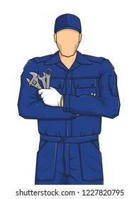 Professional auto mechanic cartoon character holding a wrench. Expert service worker. Build your personal design on white background. Vector illustration.