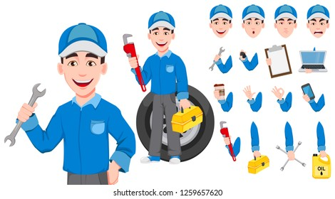 Professional auto mechanic in uniform. Expert service worker. Handsome cartoon character creation set. Pack of body parts, emotions and things. Build your personal design. Vector illustration