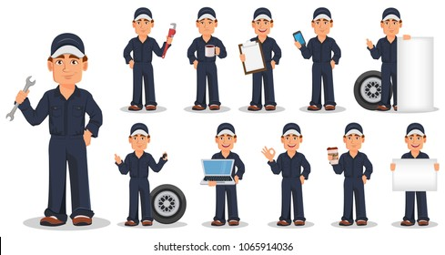 Professional auto mechanic in uniform, set. Smiling cartoon character. Expert service worker. Vector illustration