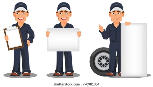 Professional auto mechanic in uniform. Smiling cartoon character, set with clipboard, banner and wheel. Expert service worker. Vector illustration