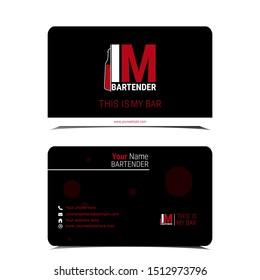 Professional bartender business card with logo. Logo illustration of bar spoon, cocktail shaker, Jigger, Hawthorne strainer and Muddler. Name card of bartending equipment in vintage engraved style.