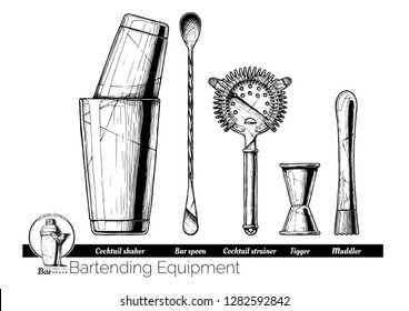 Professional bartender kit set. Cocktail shaker, bar spoon, Hawthorne strainer, Jigger and Muddler. Vector hand drawn illustration of bartending equipment in vintage engraved style. isolated on white