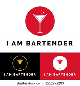 Professional bartender logo template vector. Logo illustration of bar spoon, cocktail shaker,  hawthorne strainer, Jigger and Muddler.