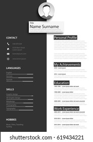 Professional black white resume cv template
