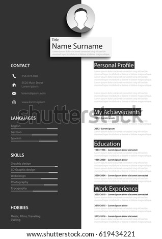 professional black white resume cv template のベクター画像素材