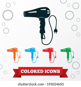 Professional blow hairdryer with two-pin plug. Round circles symbols. Vector
