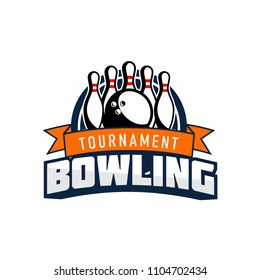 Professional bowling club badge logo design. Isolated sports association vector illustration