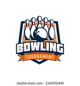 Professional bowling club badge logo design. Isolated sports association vector illustration