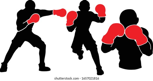 Professional Boxer Boxing Red Gloves Sports Silhouettes Vector