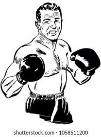 Professional Boxer - Retro Clip Art Illustration