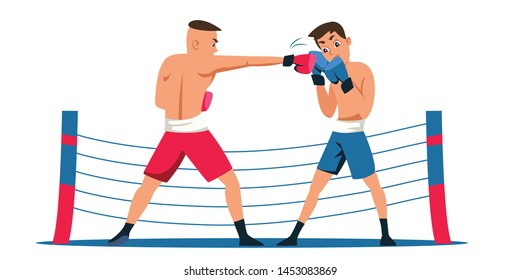 Professional boxing flat vector illustration. Young fighters, opponents in gloves and shorts cartoon characters. Strong athletes in sportswear competition. Single combat, championship match