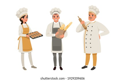 Professional Bread Bakers in Uniform Set, Bakehouse Workers with Freshly Baked Bread and Baguette Cartoon Vector Illustration