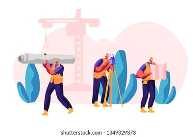 Professional Builder in Process Construction. Workman Carry Material for Build Work. Man with Level Measure Distance. Engineer Look and Check Blueprints. Flat Cartoon Vector Illustration