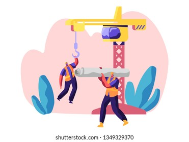 Professional Builder in Uniform in Process Construction. Worker in Hardhat Keep Crane. Service Urban Building. Workman Carry Material for Build Work. Flat Cartoon Vector Illustration