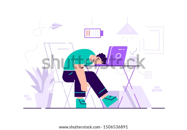 Professional burnout. Long working day. Millennials at work. Flat vector illustration. Exhausted young male manager at work sitting at the table in office with head down and low battery icon above.