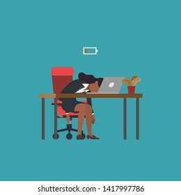 Professional burnout syndrome. Exhausted african american woman lying at desk and low battery. Flat modern vector illustration, business concept of overload at work, tiredness, procrastination.