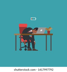 Professional burnout syndrome. Exhausted african american man lying at desk and low battery. Flat modern vector illustration, business concept of overload at work, tiredness, procrastination.