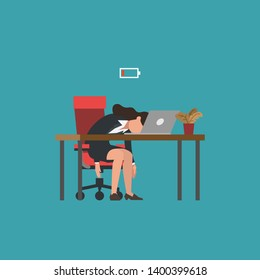 Professional burnout syndrome. Exhausted female manager at work sitting at the table with head down and low battery icon above. Flat vector illustration, business concept of overload, tiredness.