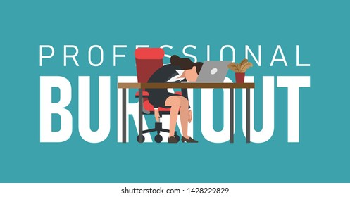 Professional burnout syndrome. Exhausted female manager at work sitting at the table with head down in front of text. Flat vector illustration, business concept of overload, tiredness.