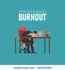 Professional burnout syndrome. Tired male manager at work sitting at the table with head down under text. Flat vector illustration, business concept of overload, man at overtime job.