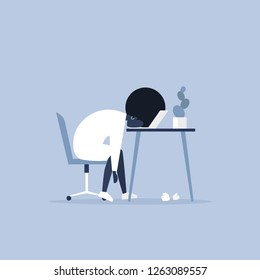 Professional burnout. Young exhausted black female manager sitting at the office. Long working day. Millennials at work. Flat editable vector illustration, clip art