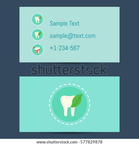 Professional business card template dentists round stock vector professional business card template for dentists with round tooth icon on blue background vector illustration accmission Gallery