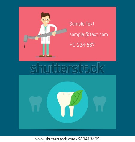 Professional Business Card Template Dentists Cartoon Stock Vector