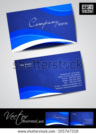 Professional business cards template visiting card stock vector professional business cards template or visiting card set artistic wave effect with world map wajeb Gallery