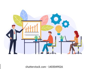 Professional business coach trainer speaker teaching training class. Seminar presentation concept. Vector flat cartoon graphic design illustration