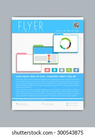 Professional business flyer, banner or template in blue and white color for your company.