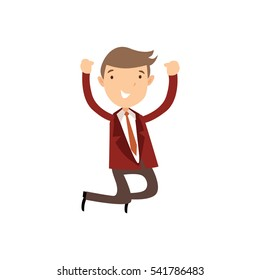 Professional Business Man Flat Character. Isolated in white background. Success jumping with two hands up.