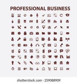 professional business, management icons, signs, illustrations concept design set, vector