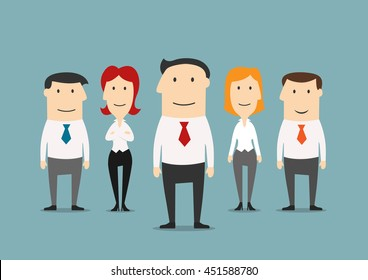 Professional business team with cartoon friendly smiling business colleagues and confident leader in the center. Great for office staff theme or leadership concept design